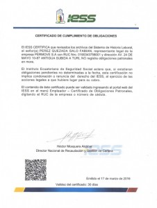 CERTIFICADO IESS RADIO 2015-2016